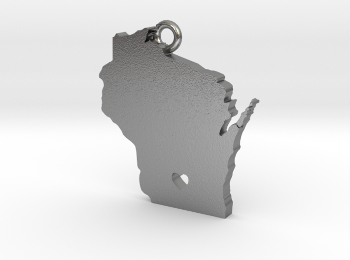 Wisconsin Pendant with Heart 3d printed