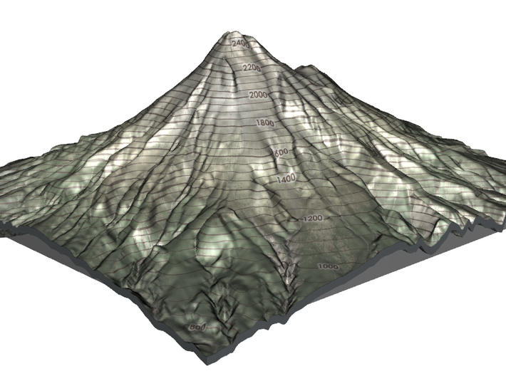 "Mt Taranaki Map - 9"" Contour 3d printed"