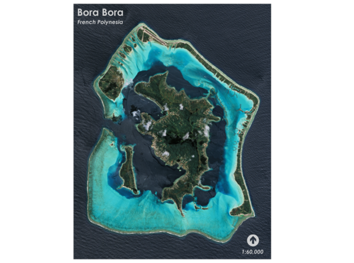 Bora Bora Map, French Polynesia 3d printed