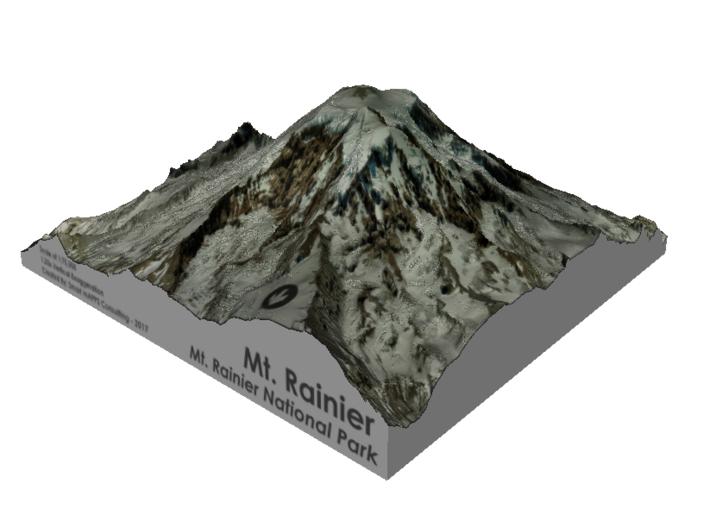 "Mount Rainier Summit Map - 5"" 3d printed"