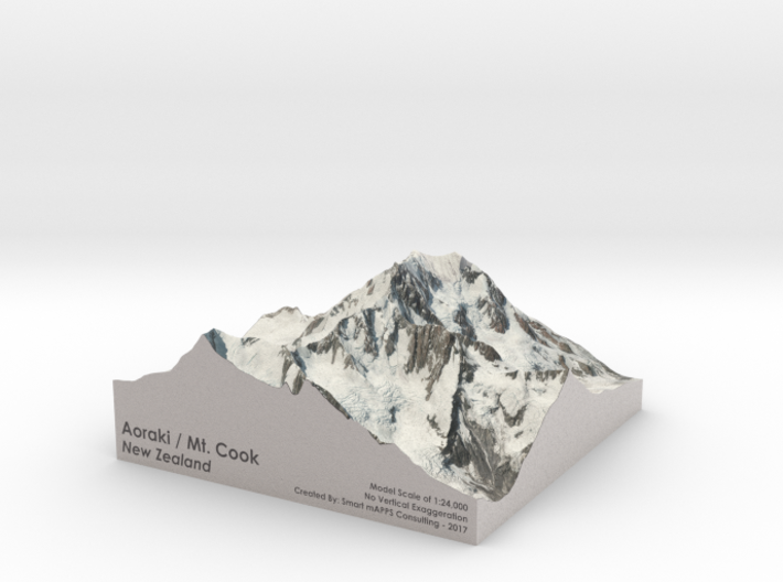 "Aoraki / Mount Cook Map, New Zealand: 9"" 3d printed"