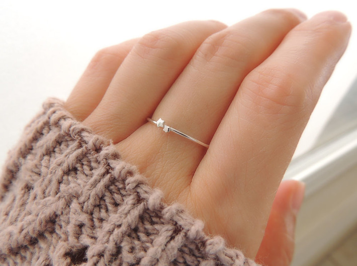 Twin Star Ring (Multiple Sizes) 3d printed Twin Star Ring in Polished Silver