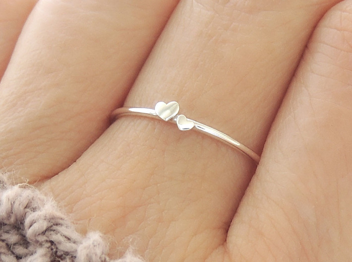 Twin Heart Ring (Multiple Sizes) 3d printed Twin Heart Ring in Polished Silver