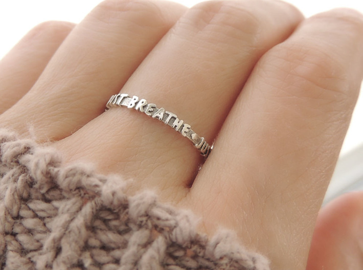 Just Breathe Ring (Multiple Sizes) 3d printed 'Just Breathe' Ring in Polished Silver with Aftermarket Patina