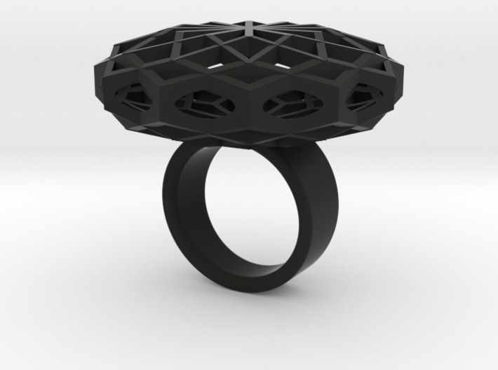 SACRED HEXAGON RING L 3d printed