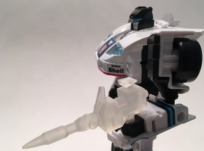 Transformers POTP Jazz Shoulder Cannon 3d printed Smooth Fine Detailed version printed via Shapeways, hand-held.