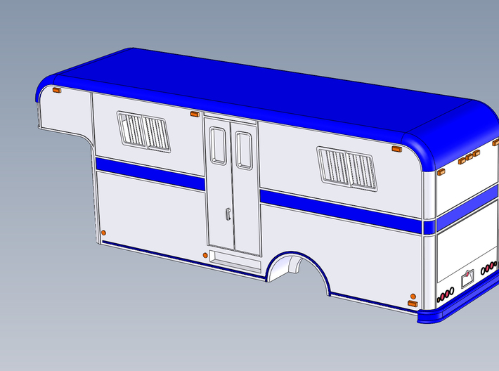 HO 1/87 Horsebox 1978 Imperatore 6 (simplified) 3d printed This is a simplified version of the Imperator 6 Horsebox, with fixed doors/tailgate.