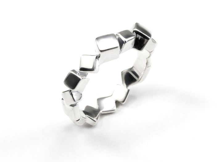 Ring Mary Double Prisms 3d printed Silver prism