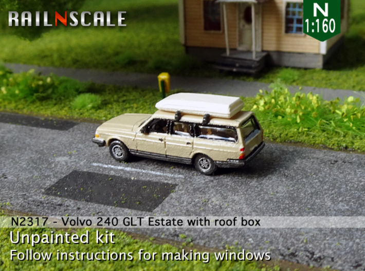 Volvo 240 GLT Estate with roof box (N 1:160) 3d printed
