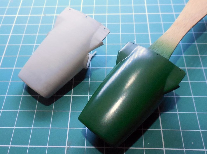 1/20th 1968 Lotus 49 nose cone 3d printed low resolution test print compared with original kit part