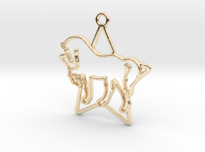 Horse & star intertwined Pendant 3d printed