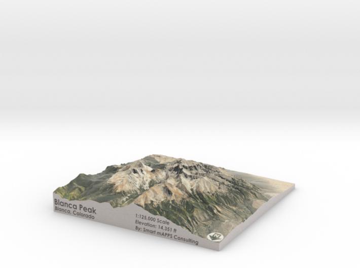 "Blanca Peak Map: 6""x6"" 3d printed"