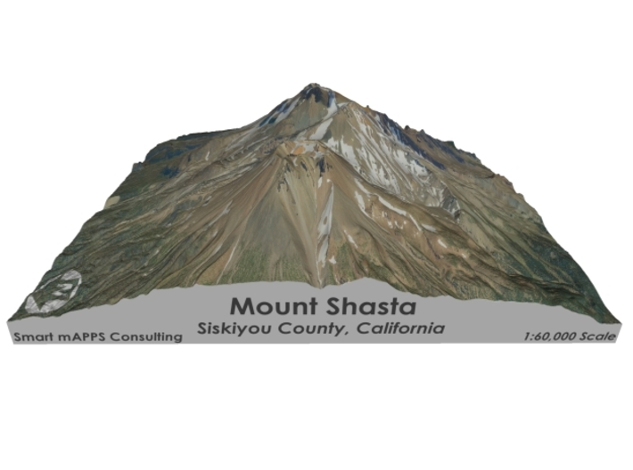 "Mount Shasta Map: 6""x6"" 3d printed"
