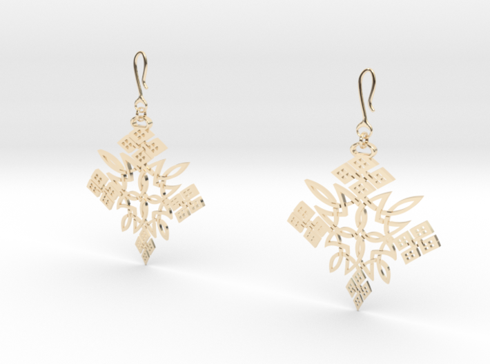 Habesha Cross Earrings Tapered 3d printed