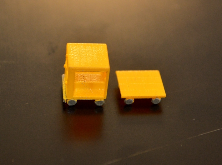 N-Scale Small Speeder & Cart 3d printed Painted Production Sample