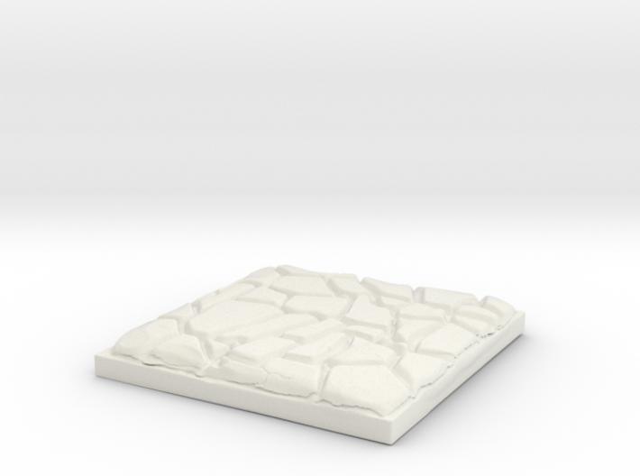 "Cobblestone 1"" Square Miniature Base Plate 3d printed"