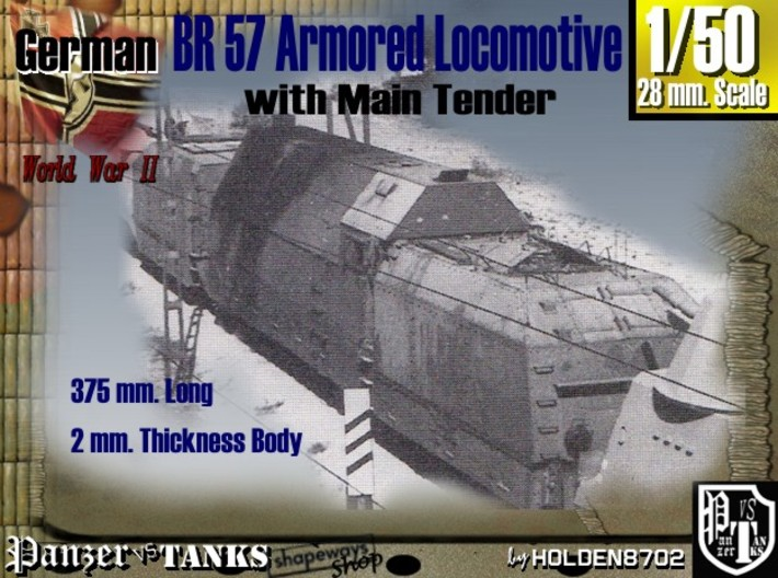 1-50 BR 57 Armored Locomotive For BP-42 3d printed