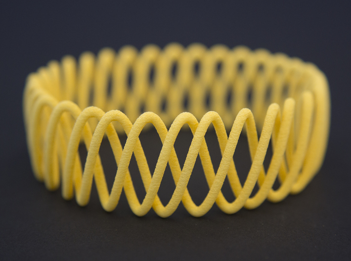 Spring Bracelet 3d printed in Yellow Strong and Flexible