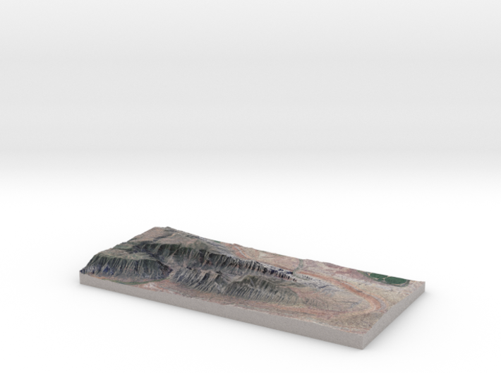 "Split Mountain Map, Utah:  No VE, 6""x12"" 3d printed"