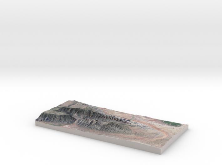 "Split Mountain Map, Utah:  No VE, 6""x12"" 3d printed"