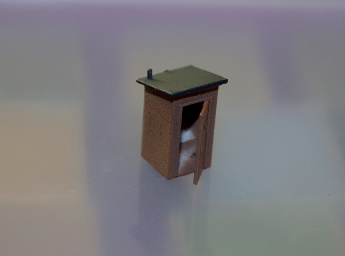 N-Scale Slant Roof Outhouse 3d printed Painted Production Photo