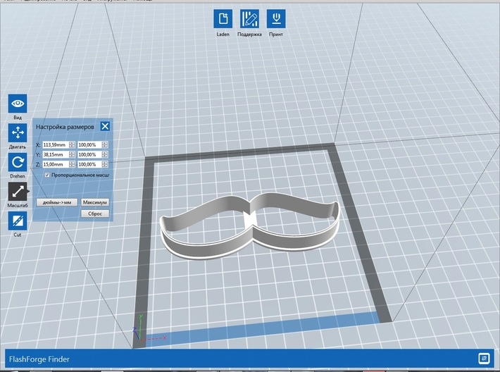 Mustache 2 cookie cutter for professional 3d printed