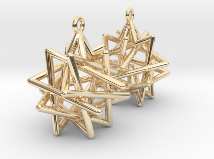 Tetrahedron Compound Earrings 3d printed