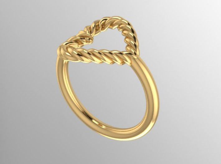 Twisted Heart Midi Ring 3d printed Rendering of 14K Ring