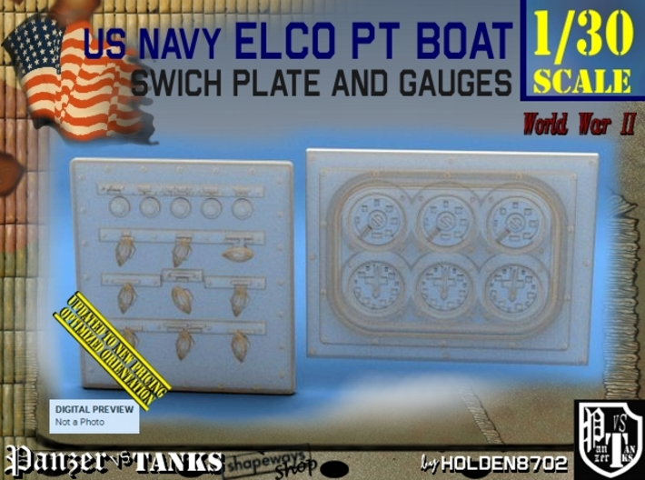 1/30 PT Boat Swich Plate and Gauges 3d printed