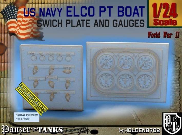 1/24 PT Boat Swich Plate and Gauges 3d printed