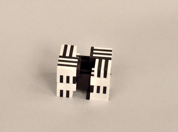 Puzzle Cube, Positive, (white) pieces 3d printed Begin pulling apart to disassemble