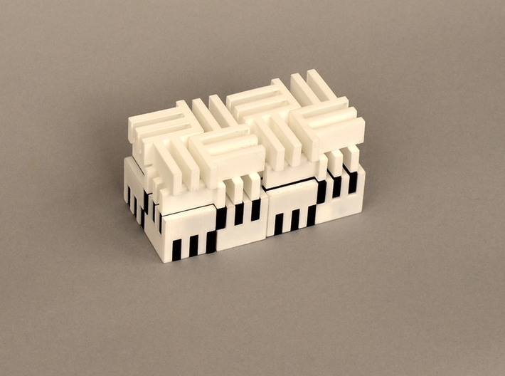 Puzzle Cube, Positive, (white) pieces 3d printed abstract reassembly of cube and a half