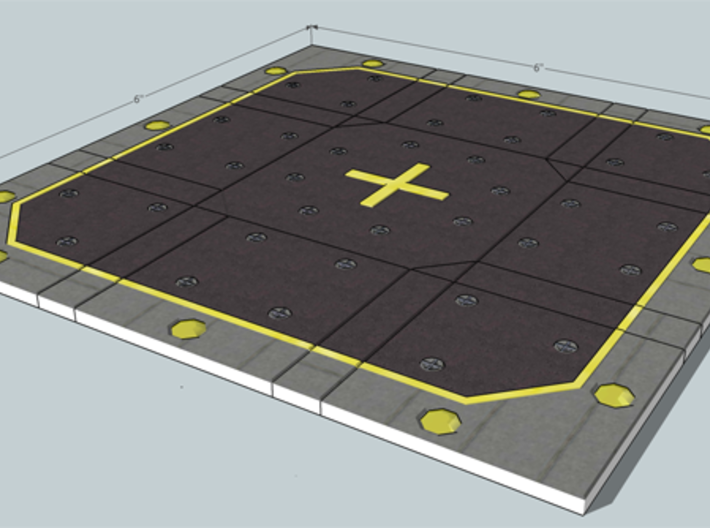 SciFi Tile X1 - Landing Pad 3d printed Final landing pad assembled using the tiles.