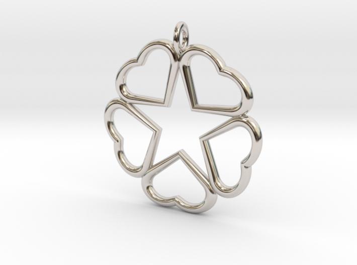 Hearts Hidden Pentacle pendant  3d printed
