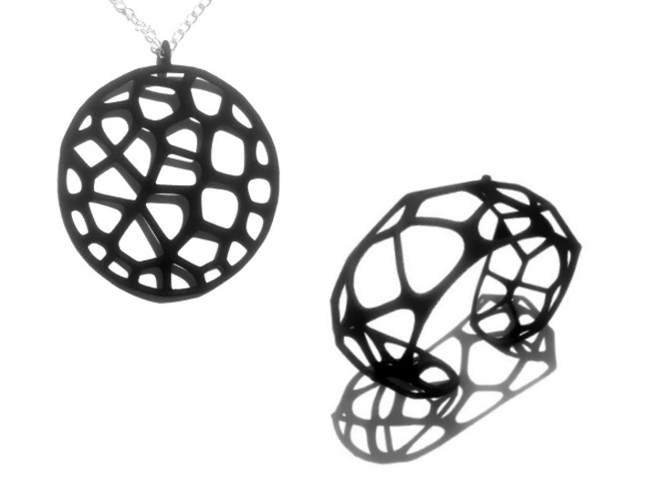Exteriority Pendant 3d printed Black Strong & Flexible