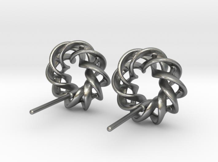Torus Ribbon Stud Earrings in Cast Metals 3d printed