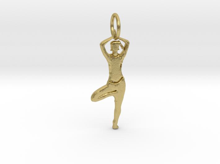 Lady Yoga Tree Pose Pendant 3d printed