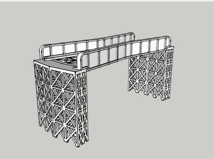 "CROSSING 13° SINGLE TRACK VIADUCT 3d printed with 2"" tall joiners"
