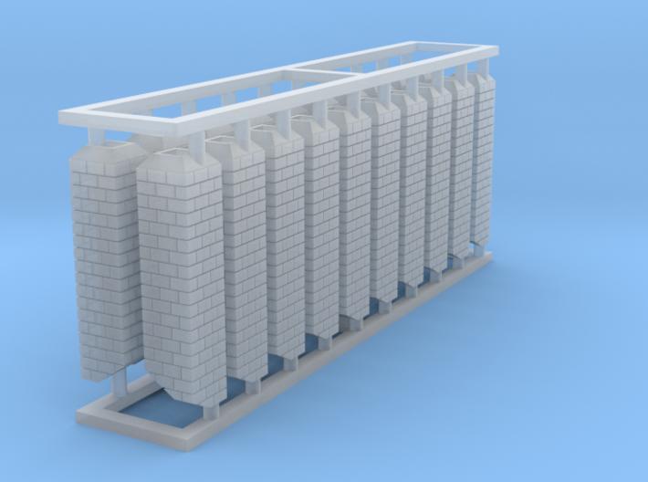 HO Simple Square Brick Chimneys Block of 20 3d printed
