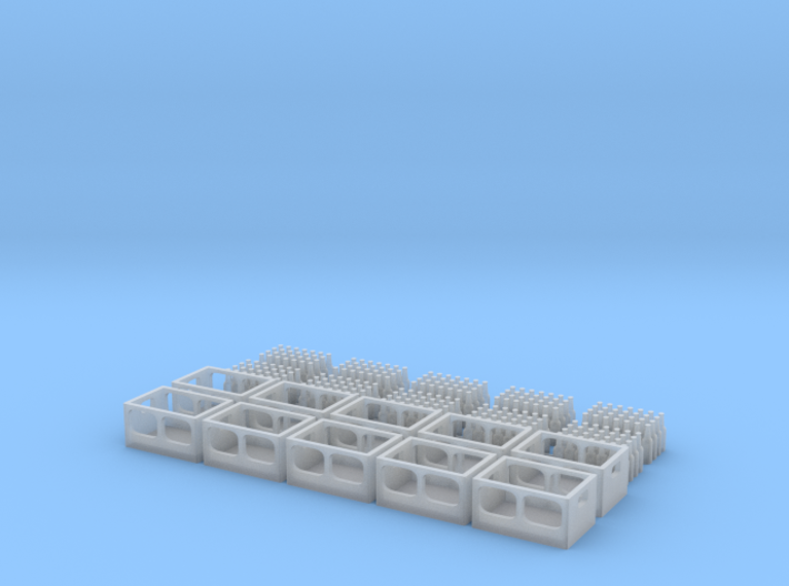Set of 5 - Beer/Soda Crates with Bottles 3d printed