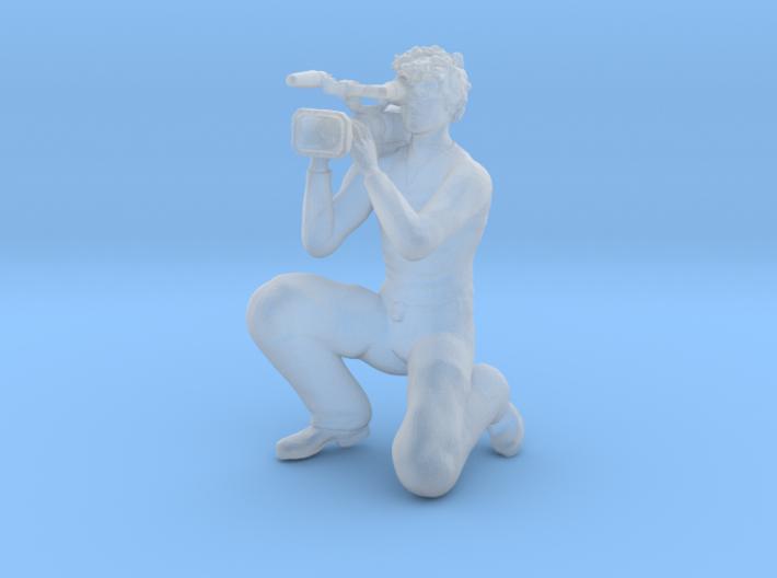 Male Video Cameraman Kneeling 3d printed