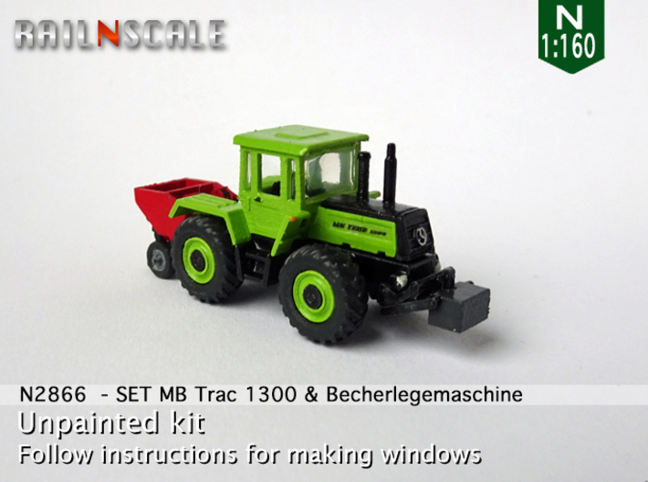 SET MB Trac 1300 & Becherlegemaschine (N 1:160) 3d printed