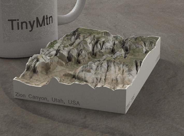 Zion Canyon, Utah, USA, 1:100000 Explorer 3d printed