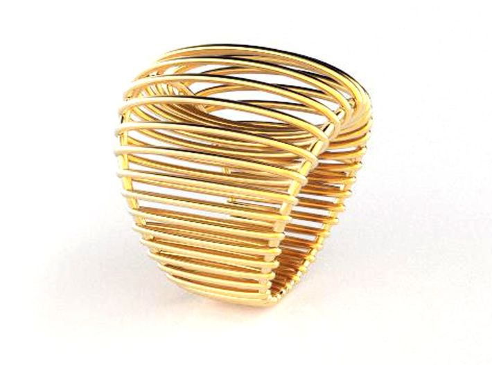 Structure ring. 3d printed Coctail Ring Silver