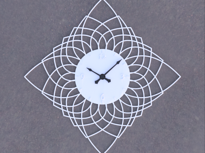 Sunburst Clock - Daphne 3d printed Render of clock face with hands added