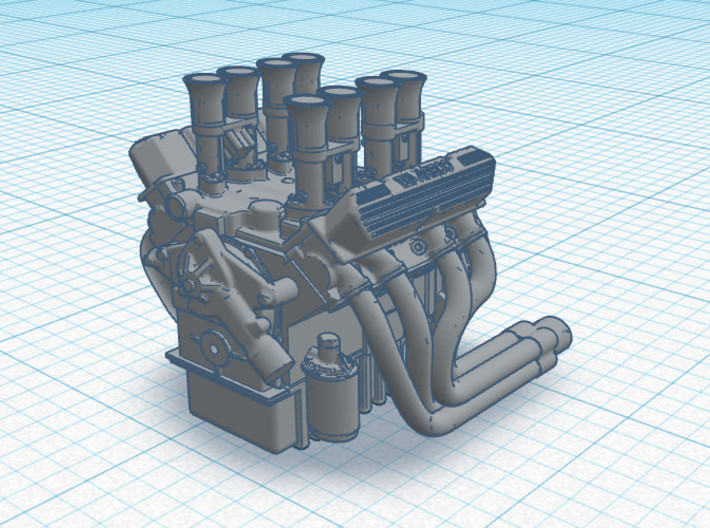 Set of 4 - V8 Engine with Velocity Stacks 3d printed