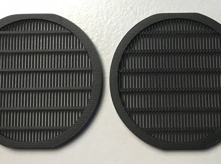 Perfect Grade Falcon 1:72 fan grilles, Koolshade 3d printed Left: plain version. Right: with simulated Koolshade (this version) Note: this was an earlier print with just slightly tighter bar spacing