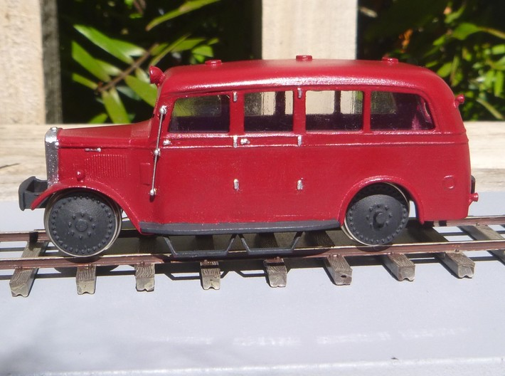 NZR Inspection Railcar 1:120 3d printed Image of completed 1:64 version of this railcar to show the colour scheme.