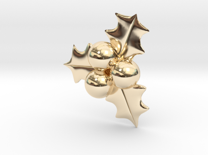 Hollyberry Christmas Pendant 3d printed