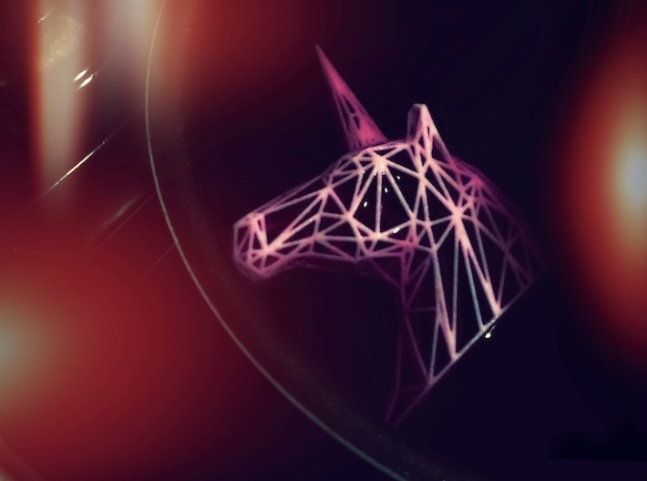 Wire Unicorn Head Statue: 3 Inch 3d printed Dyeing a tasty shade of purple